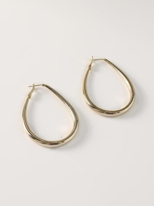 14k Gold [large] Brass Hollow Geometric Minimalist Huggie Earring